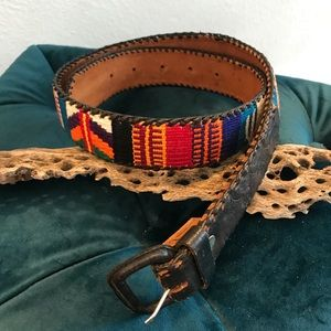 Handcrafted Guatemalan leather needlepoint belt